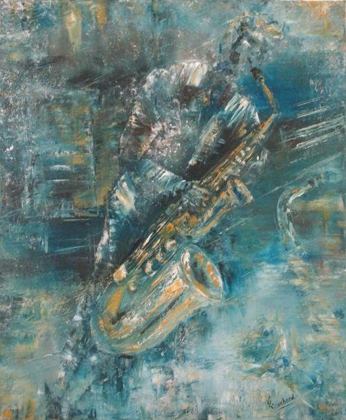 Blue saxo (huile 46 x 55 cm)