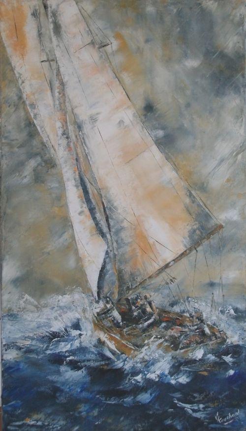 voilier (huile sur toile, 40 x 70 cm)