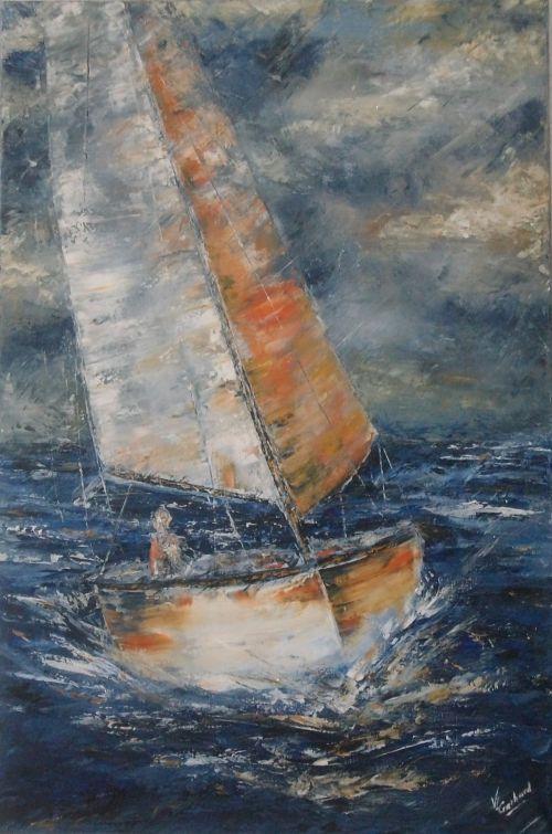 Entre ciel et mer (huile sur toile 60 x 90 cm)
