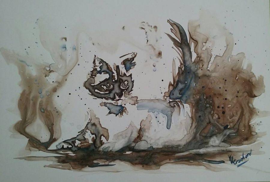 le chat, aquarelle sur papier yupo