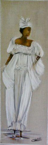 Doudou en tenue traditionnelle - Pastel sur toile de lin