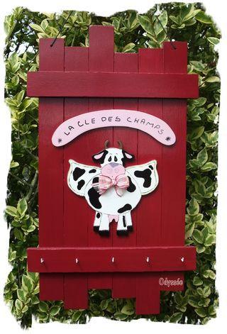 Accroche clés vache ange