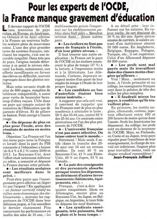 Pour les experts de l'OCDE la France manque gravement d'éducation.jpg