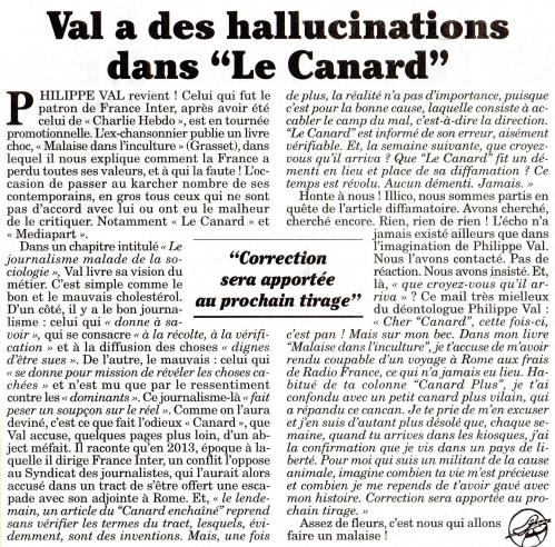 Val a des hallucinations dans Le Canard.jpg
