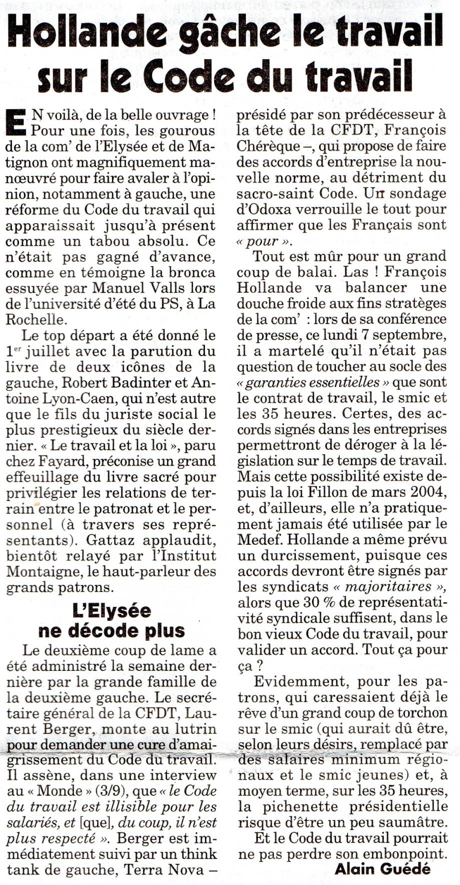 Hollande gâche le travail sur le code du travail.jpg