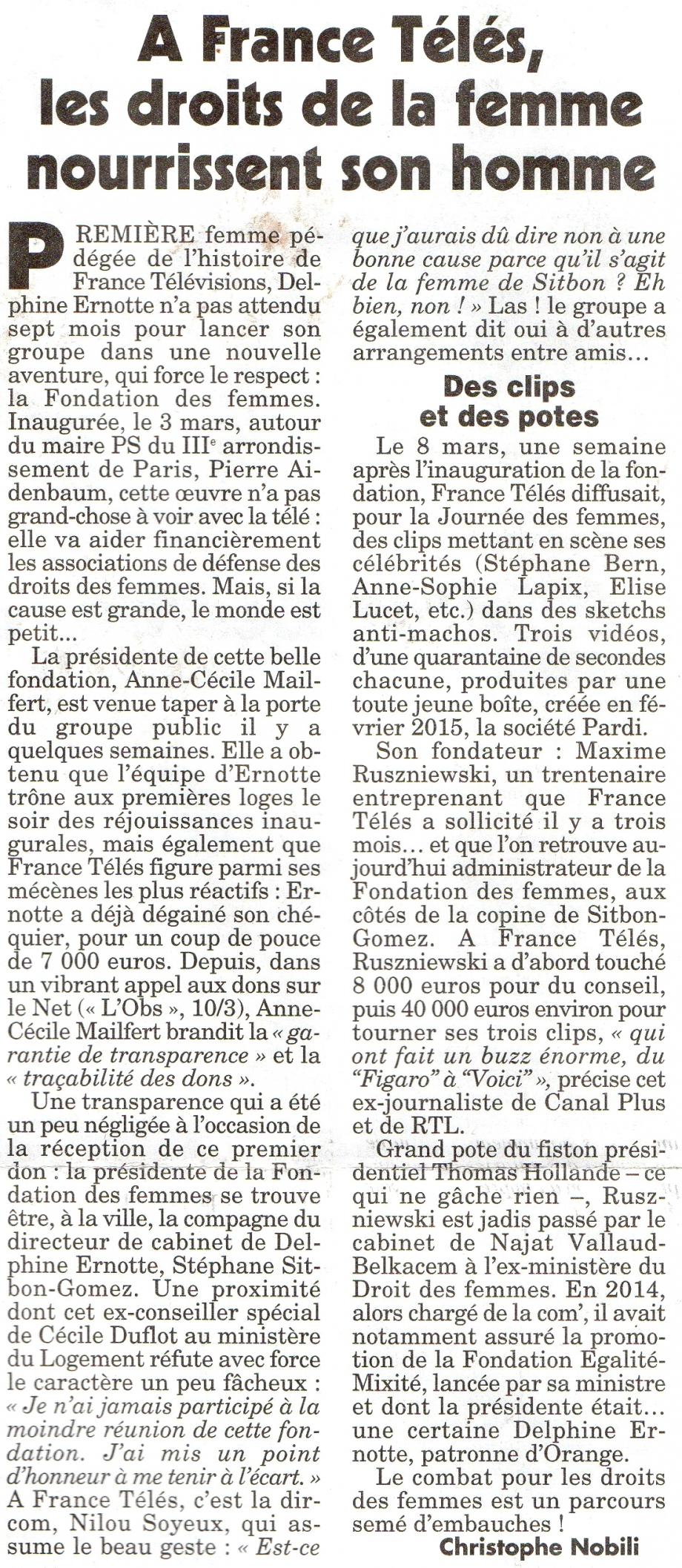 A France Télés les droits de la femme nourrissent son homme.jpg