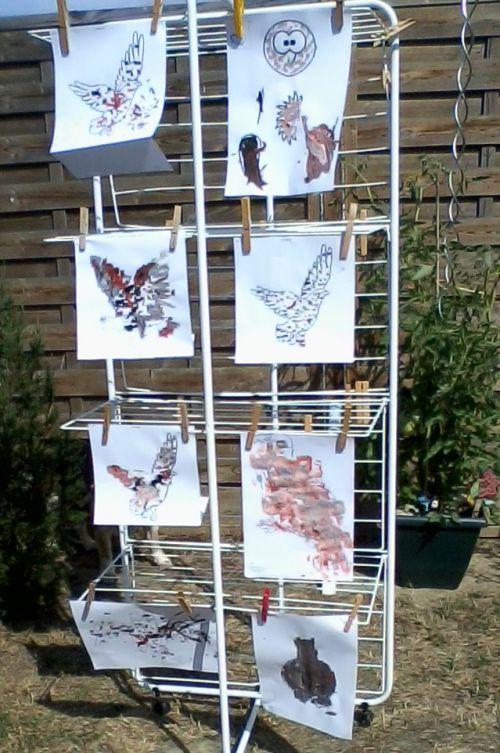 les aigles sèchent, pour ne pas qu'ils s'envolent ils sont tenu par  des pinces à linges !