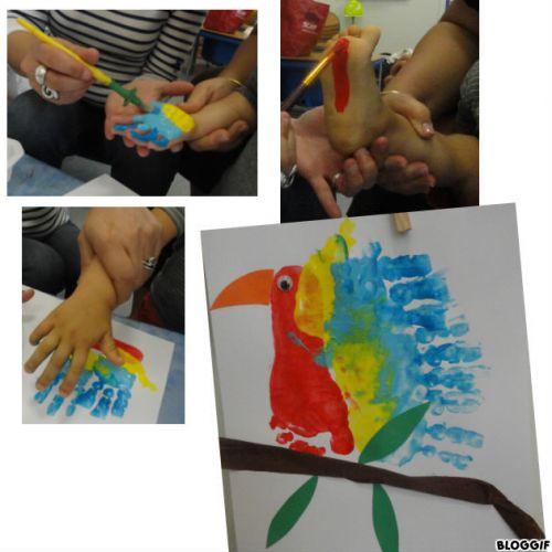 peinture avec la main et le pied : un bel oiseau !