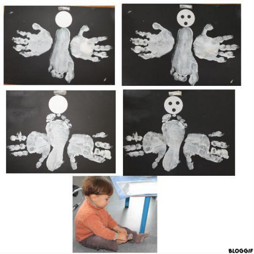 un ange mains-pied (avec ou sans yeux et bouche ? lequel préférez-vous ?)
