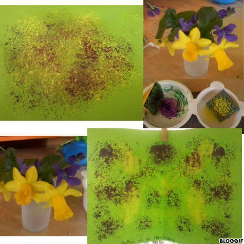 peinture avec des tampons pour les narcisses et violettes du jardin . . .