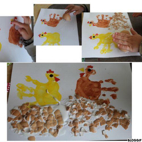 les poules (empreintes de mains)