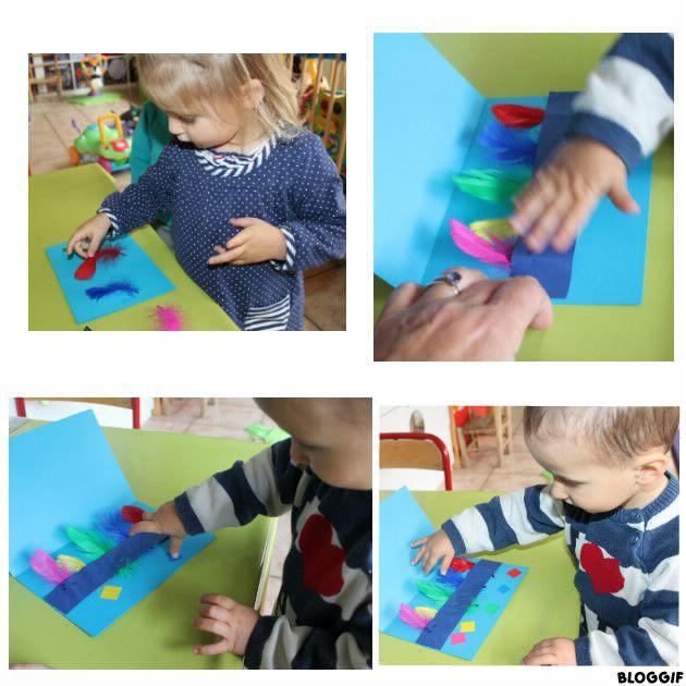 livre pour les petits : coller les plumes de différentes couleurs, puis poser une gommettes correspondantes (couleur) en dessous !