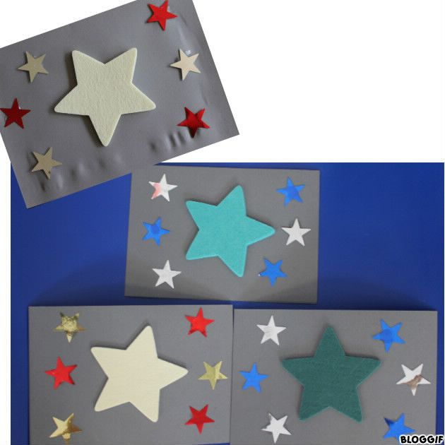 coller une étoile en feutrine et étoiles brillantes