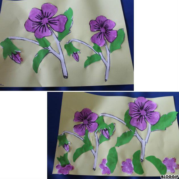 la fête de la violette, nounou a découpé des violettes et des feuilles,  coller les feuilles vertes, peindre les fleurs et les coller