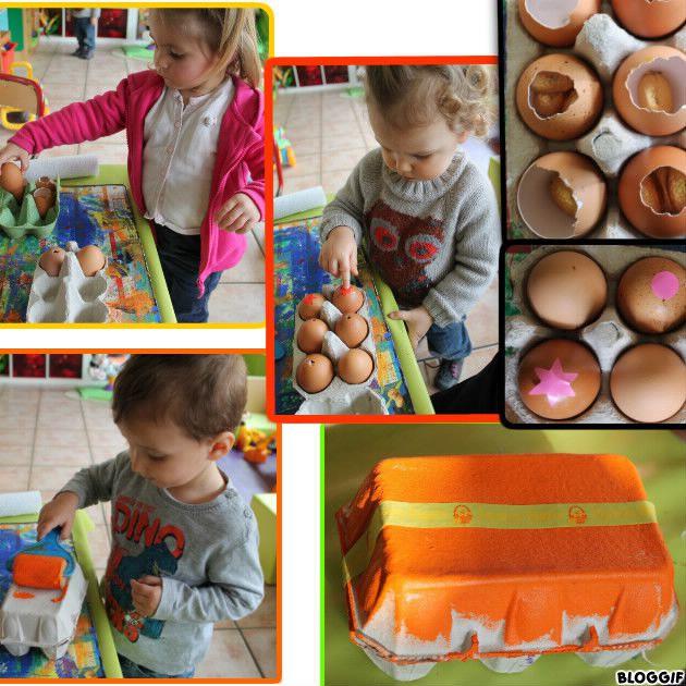 remplir la boite à oeufs avec les oeufs, coller les gommettes sur les petits trous, peindre la boite !