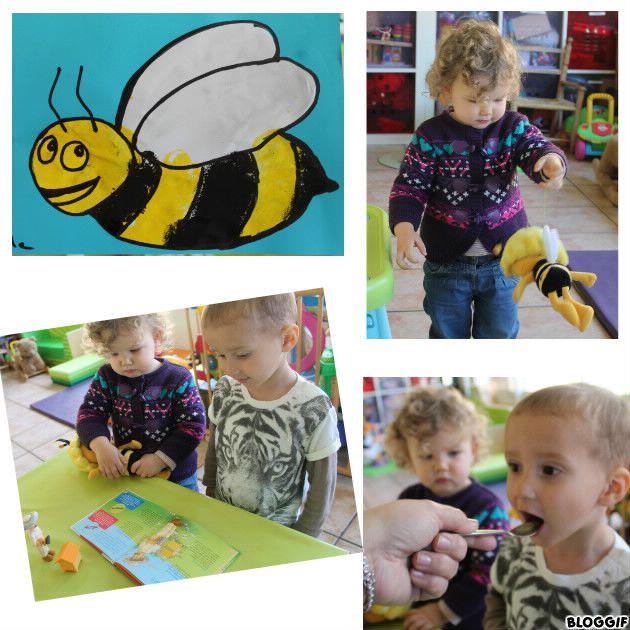 activité sur l'abeille, jeu, peinture, livre et goûter du miel