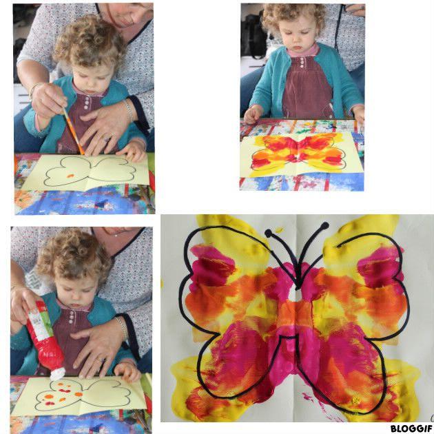tâches de peinture, plier, frotter, découvrir le papillon