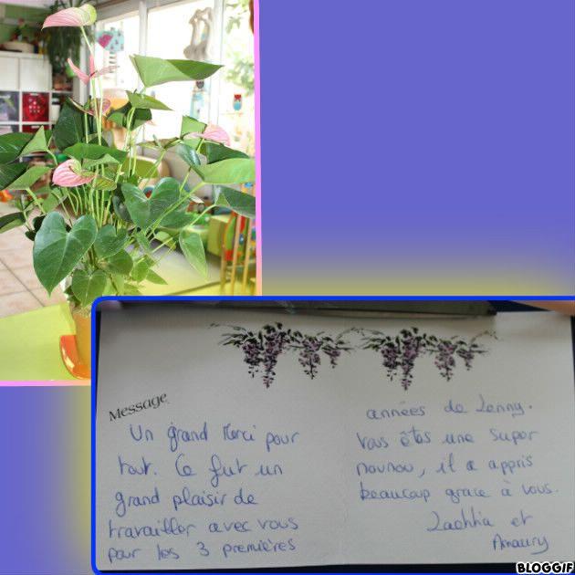 merci aux parents de Lenny pour cette jolie plante et le mot qui m'a beaucoup touché.