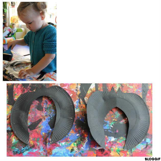 peinture en noire pour de future chauve souris suspendue