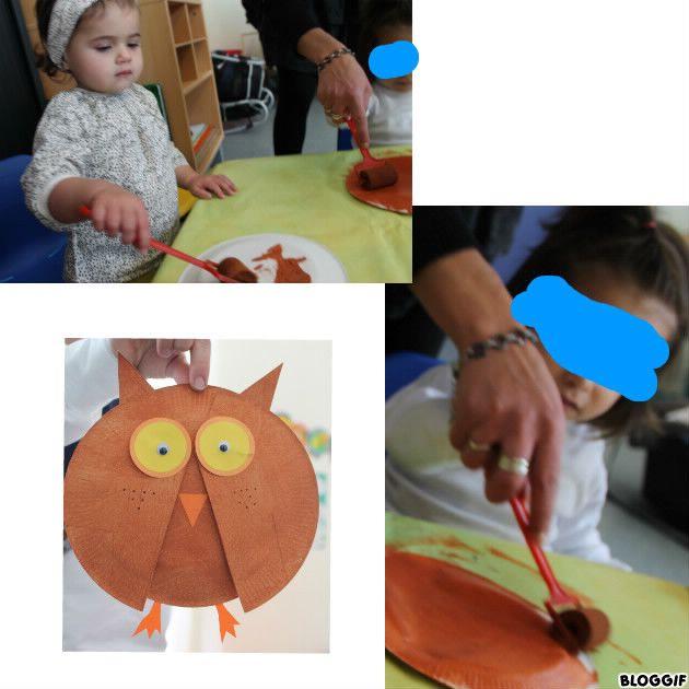 fabrication d'une chouette (avec deux assiettes en carton, yeux, et attache parisiennes)