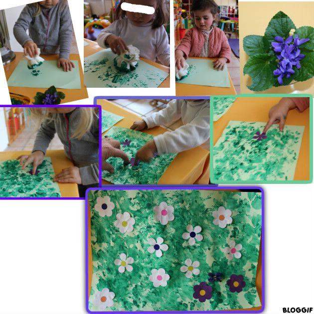 coller des fleurs et pour Faustine (en +) coller des gomettes à l'intérieur  des fleurs