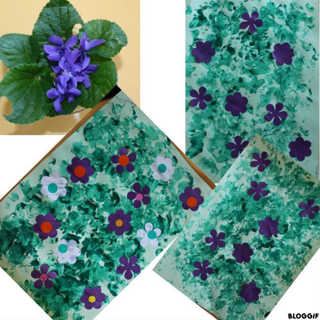 nos trois tapis de violettes et fleurs blanche