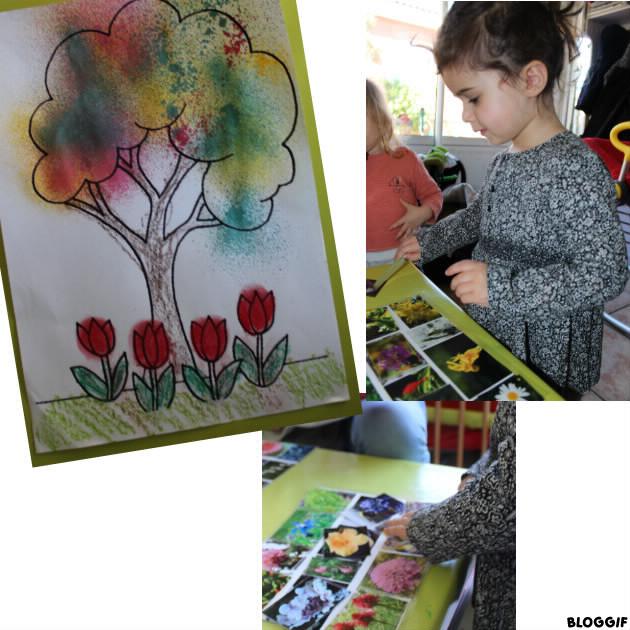 c'est le printemps. lotos et coloriage aux pastels, crayons et vaporisateur