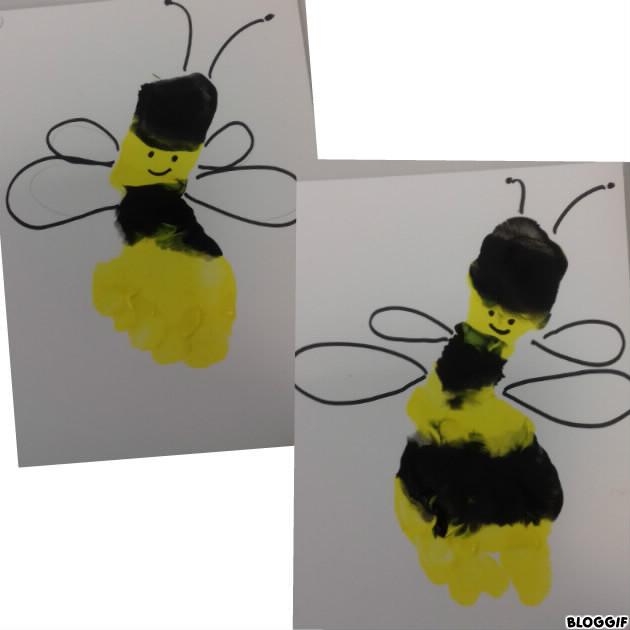 des abeilles (dommage nounou c'est trompée la tête donc le tallon doit être jaune !)
