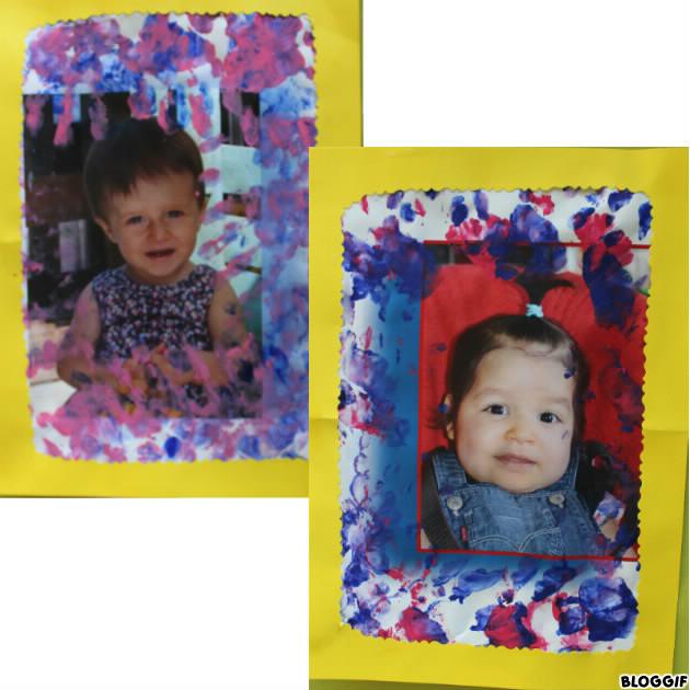portrait entouré des empreintes de leur main, Louise et Ines