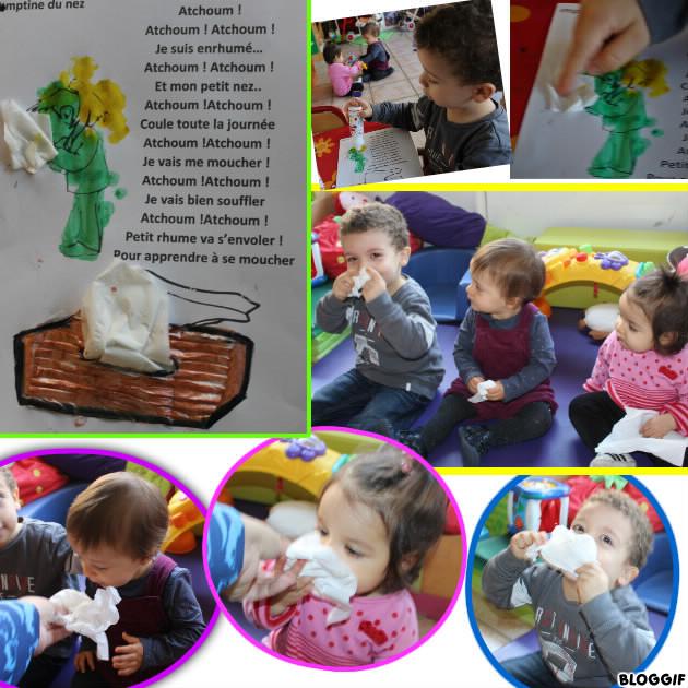 CHANSON : peindre avec les tampons et coller des mouchoirs ( (