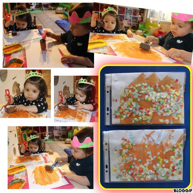 apprendre  à faire de la peinture avec un rouleau, c'est dur ! puis nounou l'a plier en deux, mis dans une pochette plastique et insérer des confettis !