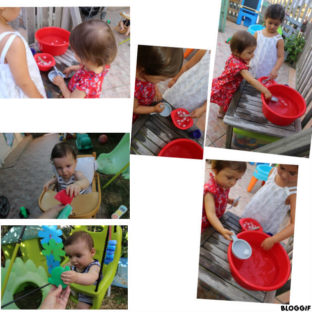 des glaçons dans le bassine et des blocs glacés pour les petits