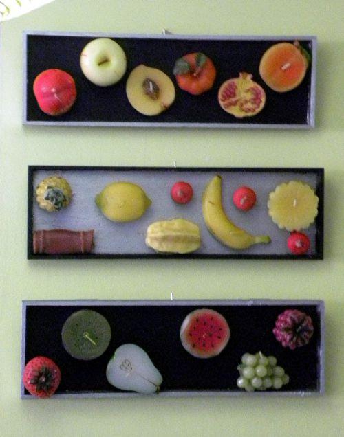 Tableaux de bougies-fruits en relief