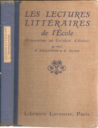 Philippon Olive Les lectures littéraires de l'école Préparation CEP 1927.jpg