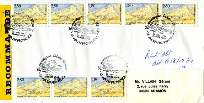 LR R2 20g taxée à 2240 F Aix en Provence PJ 18 06 1994 La montagne Sainte Victoire.jpg
