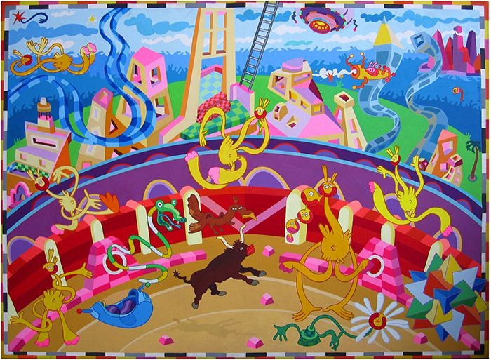 Clonage corrida - Acrylique sur toile - 60 x 80 cm