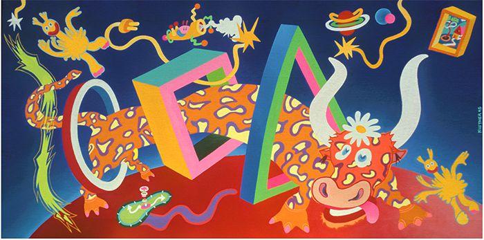 Corrida Spaceflash - Acrylique sur toile - 50 x 100 cm