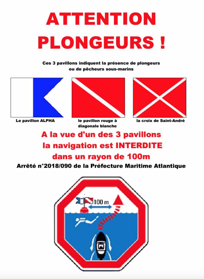 navigation 100 m des plongeurs