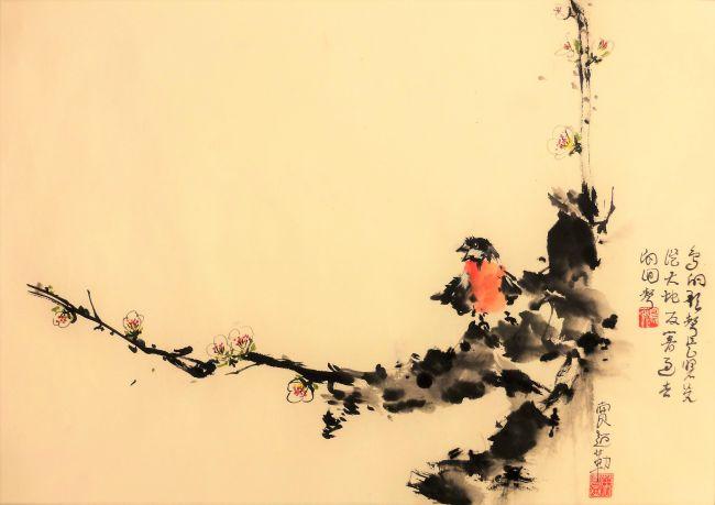 Oiseau, branche de prunier