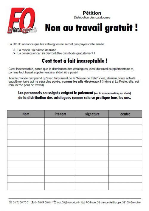 pétition catalogues