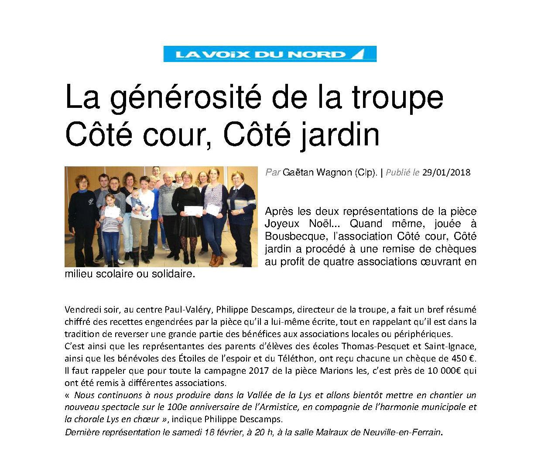 La générosité de la troupe Côté cour VdN 29 janvier 2018.jpg