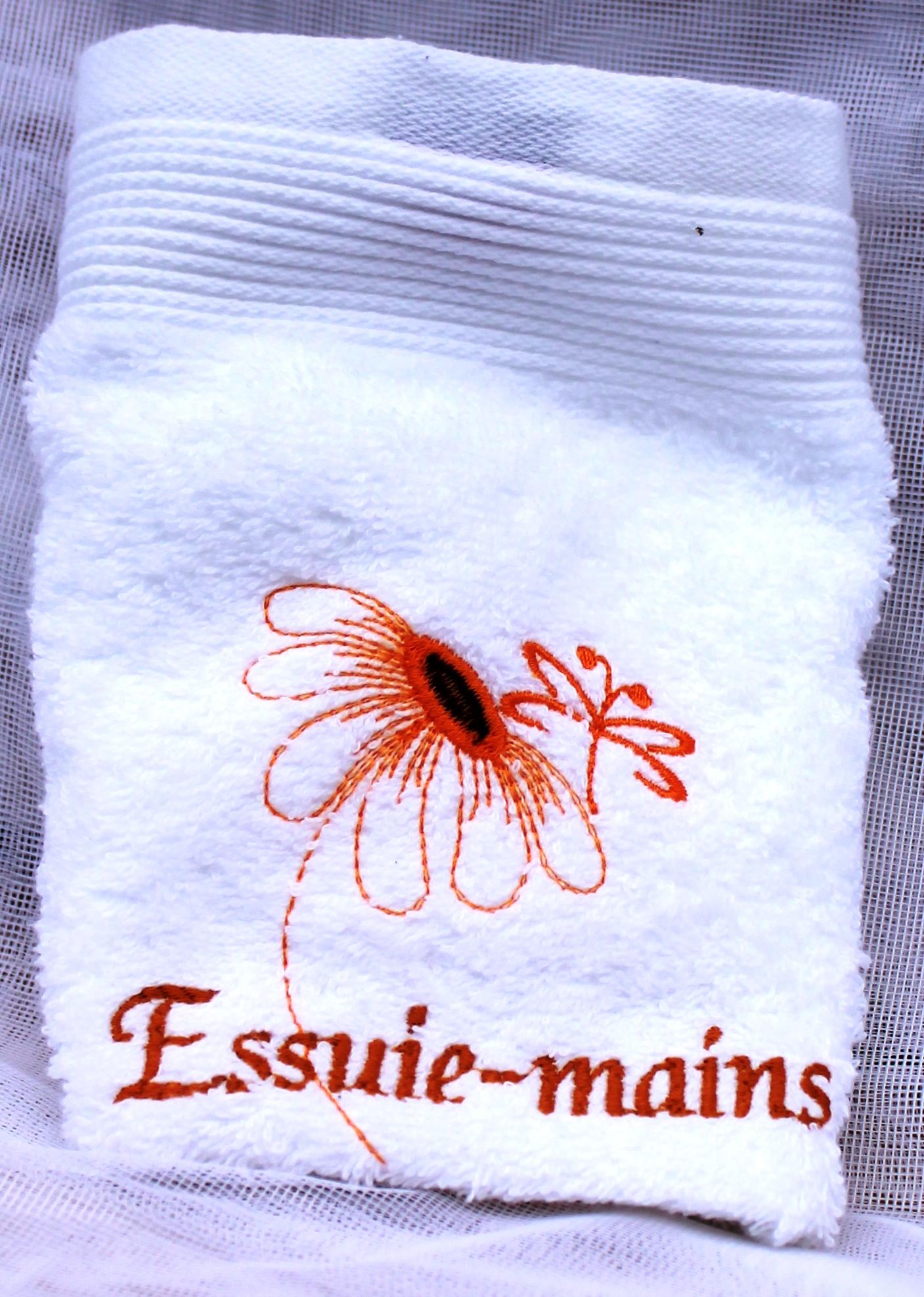essuie mains bio broderies faites machine