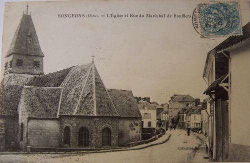 Songeons - L'église et rue du mal de Bouffler