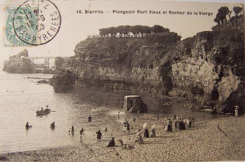 Biarritz - Plongeoir port vieux et rocher de la vierge