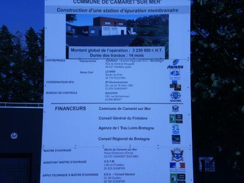 station d'épuration panneau d'annonce des travaux