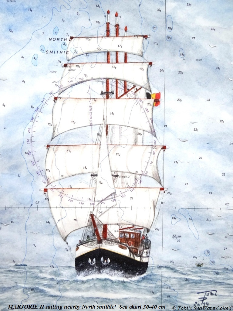 2014 'MARJORIE II sailing nearby North smithic'  Sea chart 30-40 cm.JPG