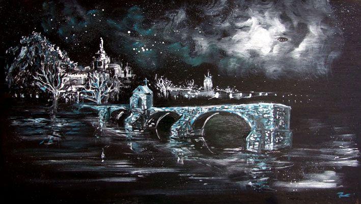 Peinture Avignon Romain Lecocq 90X50 cm