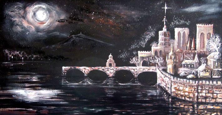 Peinture Avignon Romain Lecocq 100X50 cm
