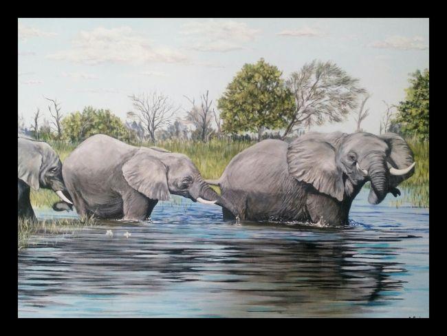 Éléphants dans l'eau 92X64