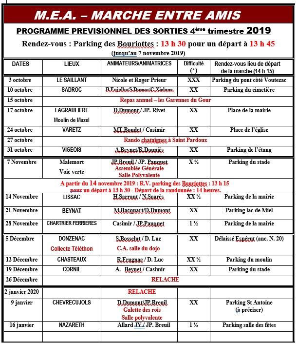 Programme des sorties du 4°trimestre 2019